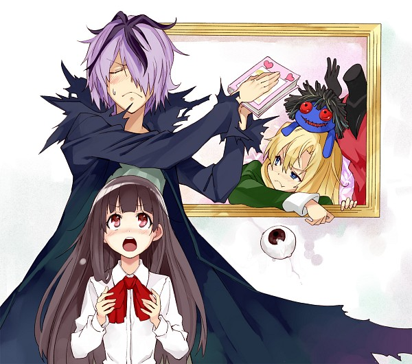 Tags: Anime, Ushiki Yoshitaka, Ib, Mary (Ib), Ib (Character), Garry, Death of the Individual, Blue Doll, Eyeball, Fanart From Pixiv, Pixiv, Fanart