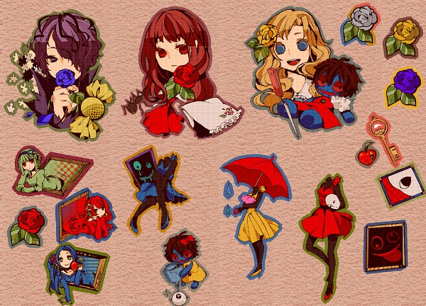 Tags: Anime, Pixiv Id 546385, Ib, Garry, Lady in Red, Death of the Individual, Lady in Blue, Blue Doll, Mary (Ib), Ib (Character), Lady in Green, Handkerchief, Fanart