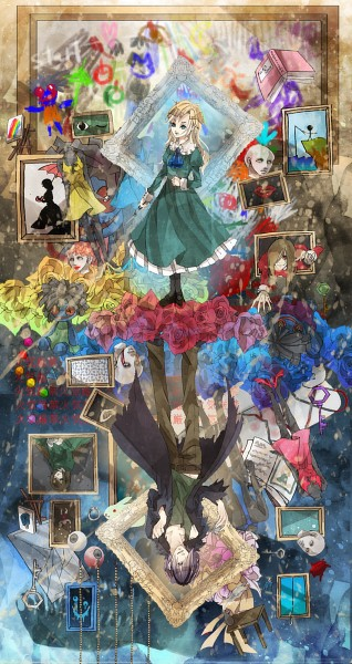 Tags: Anime, Pixiv Id 1720536, Ib, Blue Doll, Garry, Lady in Green, Lady in Red, Death of the Individual, Mary (Ib), Painting (Object), Mobile Wallpaper, Pixiv