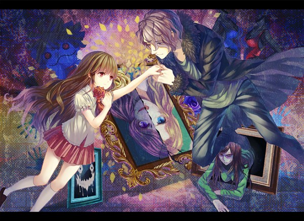 Tags: Anime, Momori, Ib, Lady in Green, Mary (Ib), Ib (Character), Death of the Individual, Garry, Blue Doll, Painting (Object), Hand Print, Pixiv