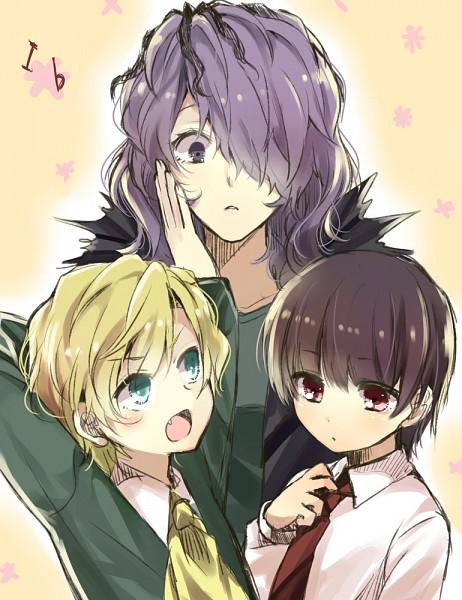 Tags: Anime, Mitsu Yomogi, Ib, Mary (Ib), Ib (Character), Garry, Adjusting Tie, Pixiv, Fanart, Fanart From Pixiv