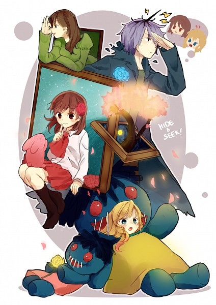 Tags: Anime, Pixiv Id 893112, Ib, Garry, Blue Doll, Lady in Green, Mary (Ib), Ib (Character), Fanart, Fanart From Pixiv, Pixiv, Mobile Wallpaper