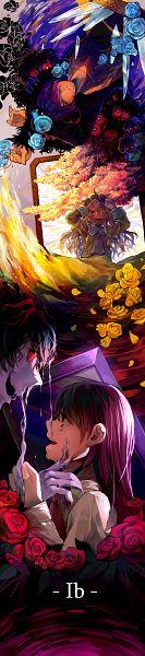 Tags: Anime, Mocco, Ib, Ib (Character), Garry, Blue Doll, Mary (Ib), Brambles, Broken Glass, Pixiv, Fanart