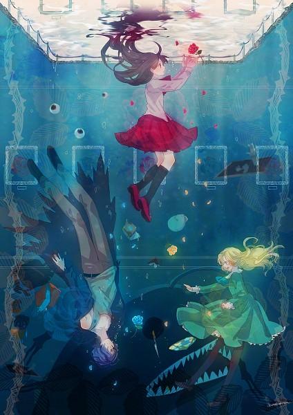 Tags: Anime, Samonya, Ib, Mary (Ib), Ib (Character), Garry, Pixiv, Fanart, Mobile Wallpaper, PNG Conversion