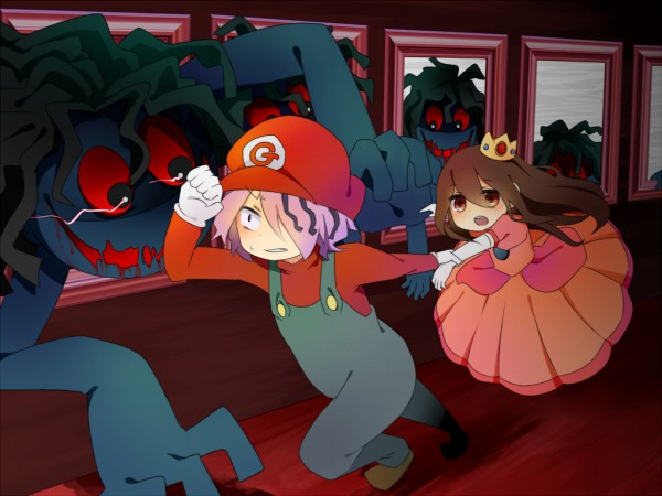 Tags: Anime, Pixiv Id 532034, Ib, Blue Doll, Ib (Character), Garry, Museum, Princess Peach (Cosplay), Mario (Cosplay), Super Mario Bros. (Parody), Fanart From Pixiv, Pixiv, PNG Conversion