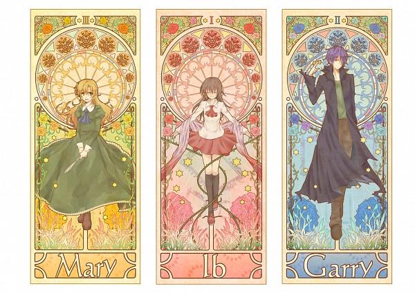 Tags: Anime, mokoppe, Ib, Mary (Ib), Ib (Character), Garry, Art Nouveau, Hexagram, Tarot Cards, Pixiv, Fanart From Pixiv, Fanart, PNG Conversion
