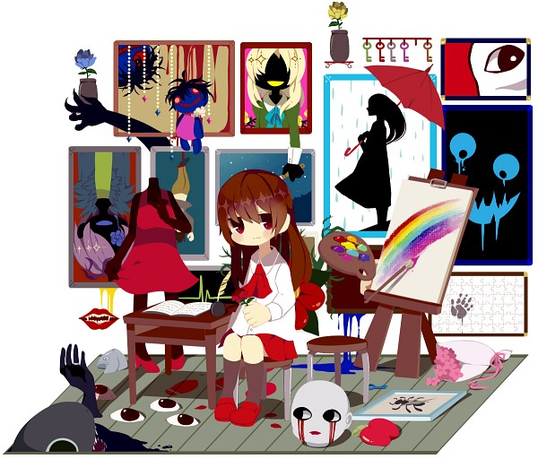 Tags: Anime, Ib, Blue Doll, Mary (Ib), Ib (Character), Garry, Death of the Individual, Blood Tears, Palette (Object), Paint Bucket, Statue, Painting (Object), Fanart