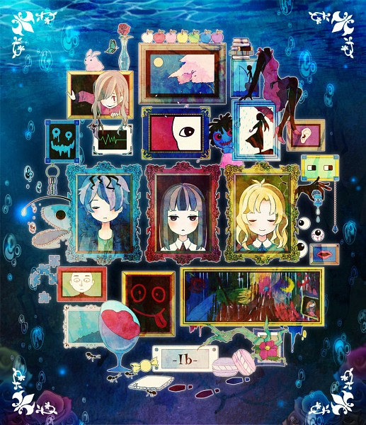 Tags: Anime, Gigatera, Ib, Death of the Individual, Garry, Blue Doll, Lady in Red, Mary (Ib), Ib (Character), Eyeball, Foot Print, Statue, Puzzle Piece