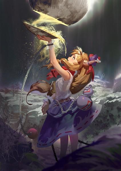 Tags: Anime, Syh3iua83, Touhou, Ibuki Suika, Moonbeam, Sakazuki, Gourd, Horn Ornament, Fanart From Pixiv, Pixiv, Mobile Wallpaper, PNG Conversion, Fanart, Suika Ibuki