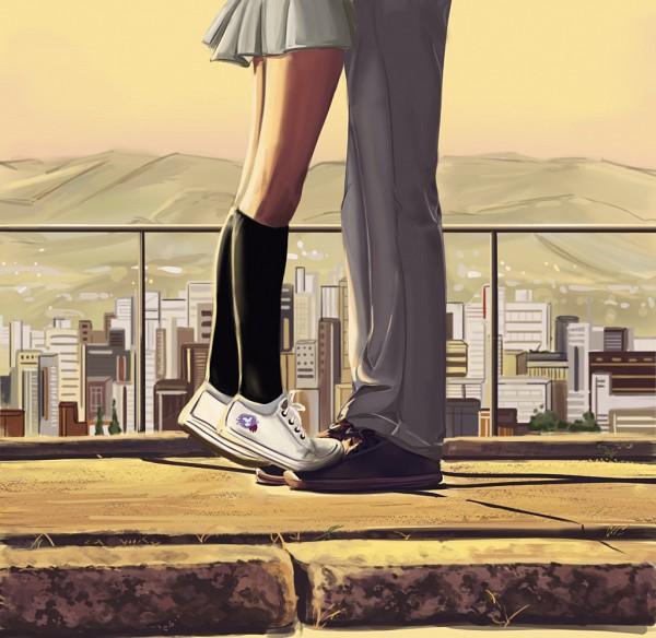 Tags: Anime, Muza4370, BLEACH, Kurosaki Ichigo, Kuchiki Rukia, Legs, School Uniform (BLEACH), Standing On Tip Toes, Roof, Fanart From DeviantART, deviantART, Fanart, IchiRuki