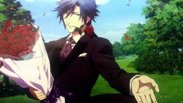 Tags: Anime, Uta no☆prince-sama♪, Ichinose Tokiya, Flower In Mouth, Facebook Cover, Official Art