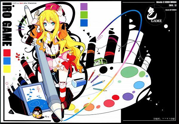 Tags: Anime, Ideolo, NEKO WORKi, IRO GAME, Stationery, Eraser, Palette (Object), Color Pencils, Original, Comic Market 81, Scan, Artbook Cover, Pixiv