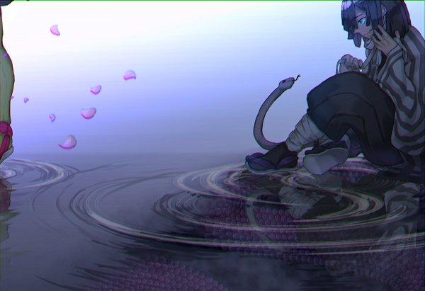 Tags: Anime, Pixiv Id 43258431, Kimetsu no Yaiba, Kaburamaru, Iguro Obanai, Water Reflection, Pixiv