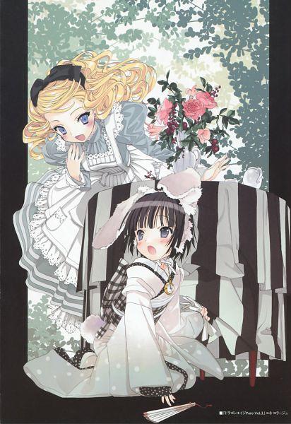 Tags: Anime, Ikoku Meiro no Croisée, Yune (Ikoku Meiro no Croisee), Alice Blanche, Alice (Alice in Wonderland) (Cosplay), White Rabbit (Cosplay), Mobile Wallpaper, Official Art