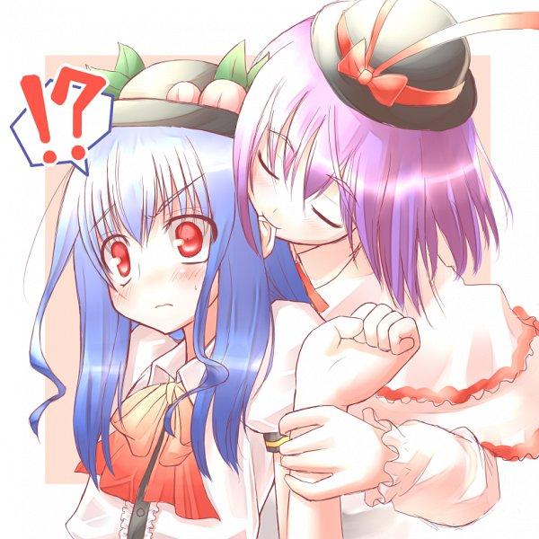 Tags: Anime, Hirasato, Touhou, Nagae Iku, Hinanawi Tenshi, Holding Wrist, Ear Nibbling, Pixiv, Fanart From Pixiv, Fanart, IkuTen