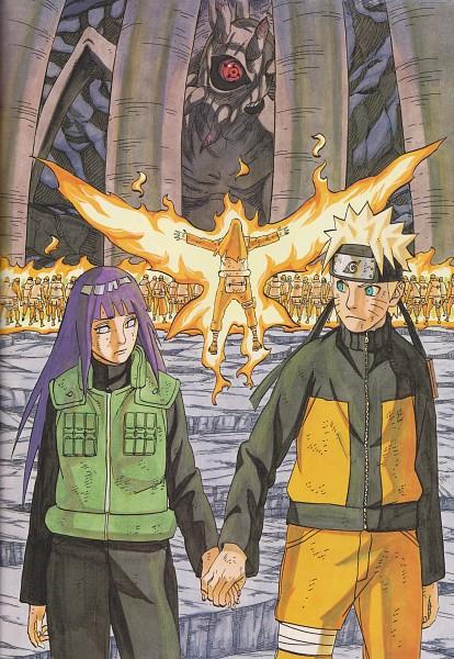 Tags: Anime, Kishimoto Masashi, Illustration Collection: Uzumaki Naruto, NARUTO, Hyuuga Hinata, Juubi, Uzumaki Naruto, Hyuuga Neji, Official Art, Mobile Wallpaper, NaruHina