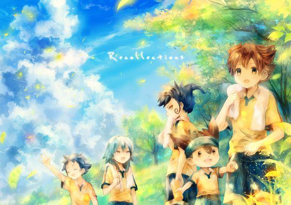 Tags: Anime, Onineko, Level-5, Inazuma Eleven GO, Kageyama Hikaru, Kariya Masaki, Tsurugi Kyousuke, Matsukaze Tenma, Nishizono Shinsuke, Towel On Shoulders, Fanart From Pixiv, Fanart, Pixiv, Inago First Year Group