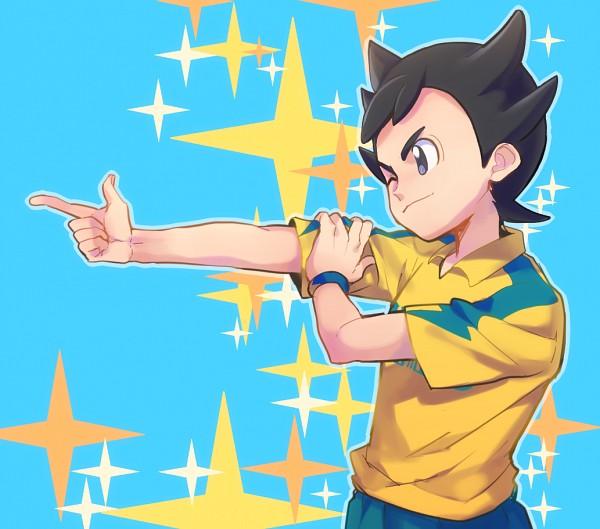 Tags: Anime, Pixiv Id 12343566, Inazuma Eleven: Ares no Tenbin, Inamori Asuto, Inakuni Raimon Uniform, Gun Gesture, Fanart From Pixiv, PNG Conversion, Pixiv, Fanart, Sonny Wright