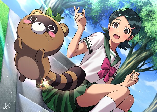 Tags: Anime, Dolustoy, Inazuma Eleven: Ares no Tenbin, Inazuma Eleven, Kino Aki, Tanukigahara Ponko, Raccoon, Fanart From Pixiv, Fanart, Pixiv, Inazuma Eleven Balance Of Ares