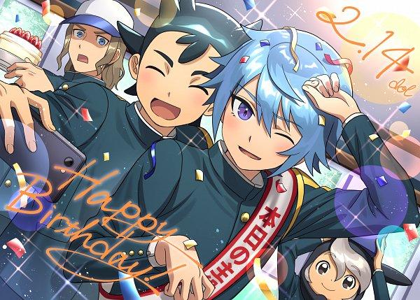 Tags: Anime, Dolustoy, Inazuma Eleven: Ares no Tenbin, Hattori Hanta, Mansaku Yuuichirou, Hiura Kirina, Inamori Asuto, Holding Phone, Pixiv, Fanart, Fanart From Pixiv, Inazuma Eleven Balance Of Ares