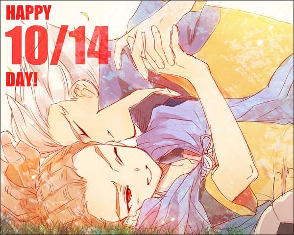 Tags: Anime, Momopon, Inazuma Eleven, Kidou Yuuto, Gouenji Shuuya, Laying on Grass, Pixiv, Fanart