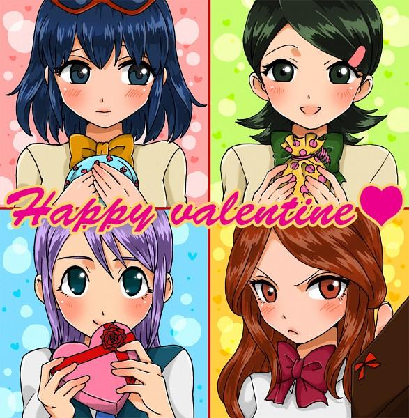 Tags: Anime, Pixiv Id 2310341, Inazuma Eleven, Raimon Natsumi, Kudou Fuyuka, Otonashi Haruna, Kino Aki, Chocolate Box, Heart Box, Pixiv, Fanart, Fanart From Pixiv