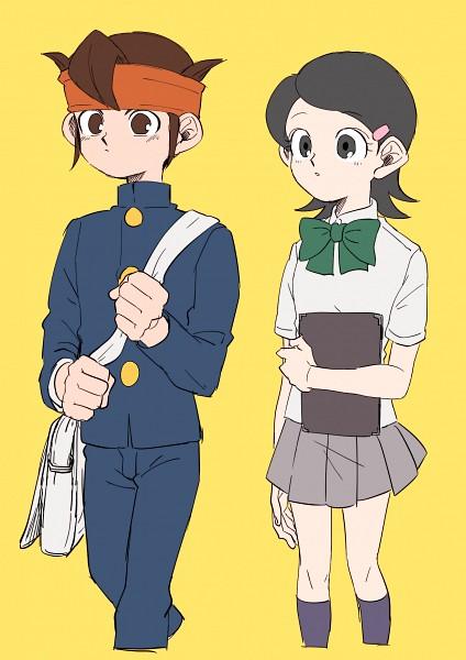 Tags: Anime, Pixiv Id 23777129, Inazuma Eleven, Endou Mamoru, Kino Aki, Gray Skirt, Fanart From Pixiv, Pixiv, PNG Conversion, Fanart