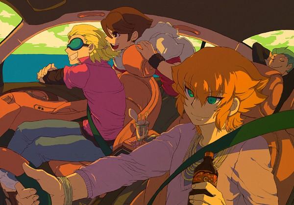 Tags: Anime, Level-5, Inazuma Eleven, Ichinose Kazuya, Fidio Aldena, Dylan Keith, Domon Asuka, Mark Kruger, Driving, Fanart, Unicorn (Inazuma Eleven)