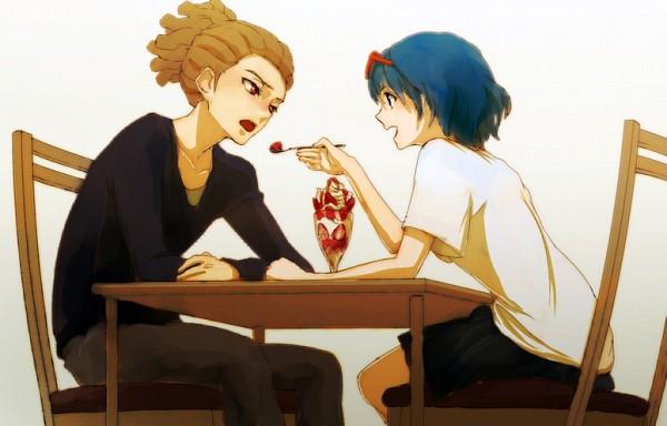 Tags: Anime, Joker (Artist), Level-5, Inazuma Eleven, Kidou Yuuto, Otonashi Haruna, Parfait, Pixiv, Fanart, Fanart From Pixiv