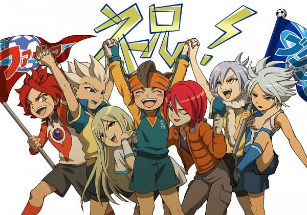 Tags: Anime, Level-5, Inazuma Eleven, Nagumo Haruya, Fubuki Atsuya, Afuro Terumi, Gouenji Shuuya, Fubuki Shirou, Kiyama Hiroto, Suzuno Fuusuke, Endou Mamoru, Zeus Uniform, Cheering