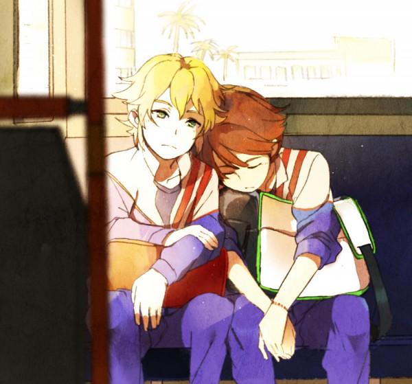 Tags: Anime, Level-5, Inazuma Eleven, Mark Kruger, Ichinose Kazuya, Bus Interior, Head on Shoulder, Warm Colors, Unicorn (Inazuma Eleven), Null