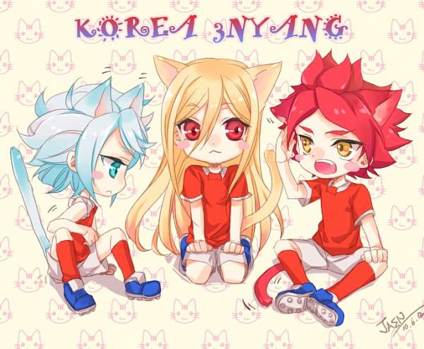 Tags: Anime, Jaen, Level-5, Inazuma Eleven, Nagumo Haruya, Afuro Terumi, Suzuno Fuusuke, Fire Dragon Uniform, Kami to Uchuu