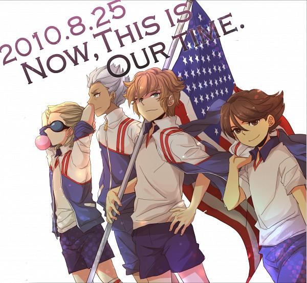 Tags: Anime, Soja, Level-5, Inazuma Eleven, Ichinose Kazuya, Mark Kruger, Dylan Keith, Domon Asuka, Holding Flag, Unicorn Uniform, Unicorn (Inazuma Eleven)