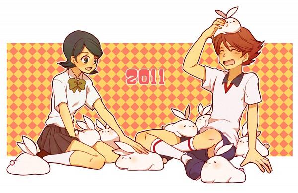 Tags: Anime, Oto (Pixiv241411), Level-5, Inazuma Eleven, Kino Aki, Ichinose Kazuya, Unicorn Uniform, Unicorn (Inazuma Eleven)