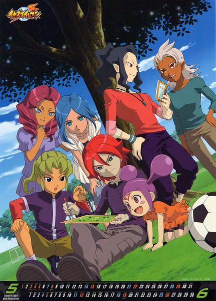 Tags: Anime, Level-5, Inazuma Eleven, Midorikawa Ryuuji, Kiyama Hiroto, Yagami Reina, Kui Ruru, Kii Fumiko, Saginuma Osamu, Segata Ryuuichirou, Under A Tree, Goalpost, Mobile Wallpaper