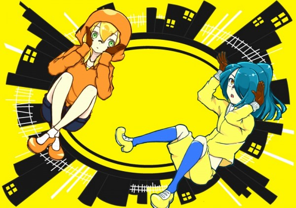 Tags: Anime, Inazuma Eleven, Miyasaka Ryou, Kazemaru Ichirouta, Bunny Ear Gesture, Artist Request, Fanart, Matryoshka