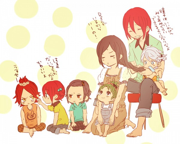 Tags: Anime, Tomo, Inazuma Eleven, Kiyama Hiroto, Kira Hitomiko, Suzuno Fuusuke, Saginuma Osamu, Nagumo Haruya, Kira Hiroto, Midorikawa Ryuuji, Hair Brushing, Braiding, Fanart