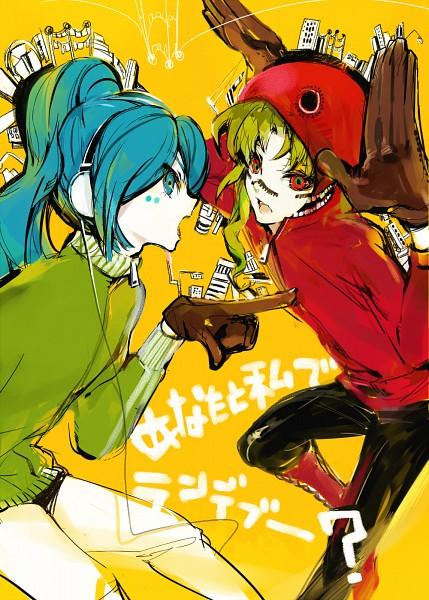 Tags: Anime, Nekoif, Inazuma Eleven, Midorikawa Ryuuji, Kazemaru Ichirouta, Bunny Ear Gesture, Pixiv, Matryoshka, Fanart, Mobile Wallpaper