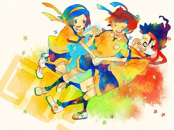 Tags: Anime, Pixiv Id 535163, Inazuma Eleven GO, Inazuma Eleven GO Chrono Stone, Sorano Aoi, Tsurugi Kyousuke, Matsukaze Tenma, Pixiv, Fanart, Fanart From Pixiv