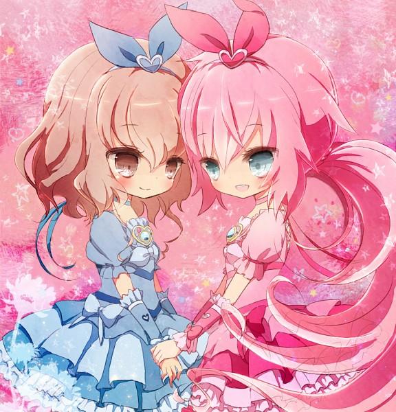 Tags: Anime, Pixiv Id 1825018, Level-5, Inazuma Eleven, Inazuma Eleven GO, Kirino Ranmaru, Shindou Takuto, Pretty Cure Series (Parody), Cure Beat (Cosplay), Cure Melody (Cosplay), Fanart From Pixiv, Pixiv, Fanart