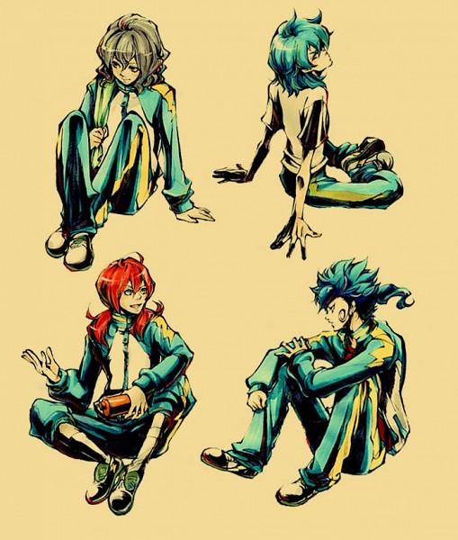Tags: Anime, Pixiv Id 3279994, Level-5, Inazuma Eleven GO, Inazuma Eleven, Kariya Masaki, Shindou Takuto, Kirino Ranmaru, Tsurugi Kyousuke, Track Pants, Fanart, Fanart From Pixiv, Pixiv