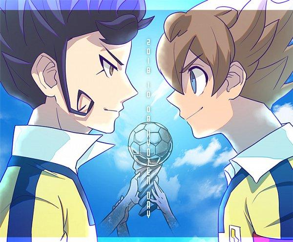 Tags: Anime, Pixiv Id 177742, Level-5, Inazuma Eleven GO, Tsurugi Kyousuke, Matsukaze Tenma, Trophy, Fanart From Pixiv, Pixiv, Fanart