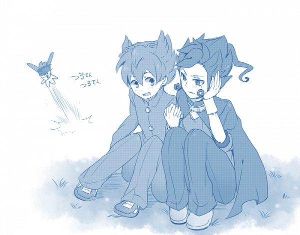 Tags: Anime, Ker, Level-5, Inazuma Eleven GO, Matsukaze Tenma, Nishizono Shinsuke, Tsurugi Kyousuke, Sitting On Grass