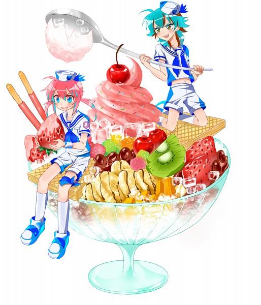 Tags: Anime, Pixiv Id 2210180, Inazuma Eleven GO, Kariya Masaki, Kirino Ranmaru, Wafer, Kiwi (Fruit), Parfait, Pixiv, Fanart