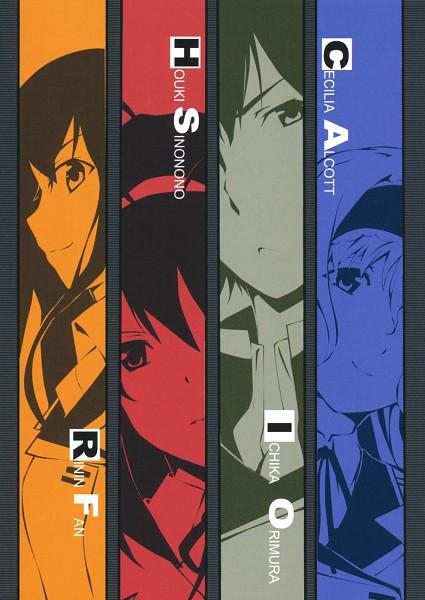 Tags: Anime, Okiura, Infinite Stratos, Shinonono Houki, Cecilia Alcott, Orimura Ichika, Huang Lingyin, Scan, Novel Illustration, Official Art