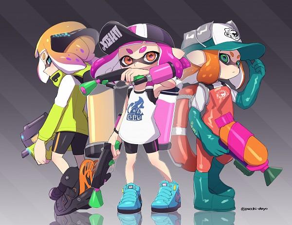Tags: Anime, Puchiman, Splatoon, Inkling (Splatoon), Rubber Gloves, Pixiv, Fanart, Fanart From Pixiv