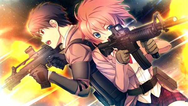 Tags: Anime, Oosaki Shinya, CINEMATOGRAPH, Innocent Bullet -the false world-, Kanzaki Sayaka, Nachi Yuuji, Disparos, CG Art, Wallpaper