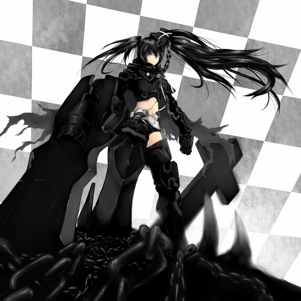 Tags: Anime, Pixiv Id 16554, Maron (Artist), Black★Rock Shooter, Insane Black★Rock Shooter, Black★Rock Shooter (Character), Huge Weapon, Pixiv, PNG Conversion