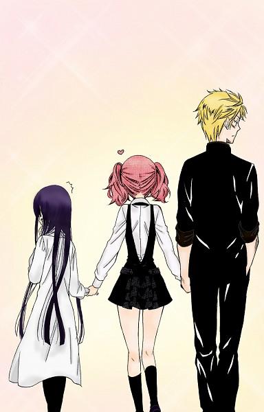 Tags: Anime, Inu x Boku SS, Watanuki Banri, Shirakiin Ririchiyo, Roromiya Karuta, deviantART, Colorization, Mobile Wallpaper