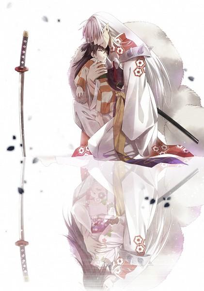 Tags: Anime, Kuramu, InuYasha, Rin (InuYasha), Sesshoumaru, Different Reflection, Unconscious, Fanart, Pixiv, Mobile Wallpaper
